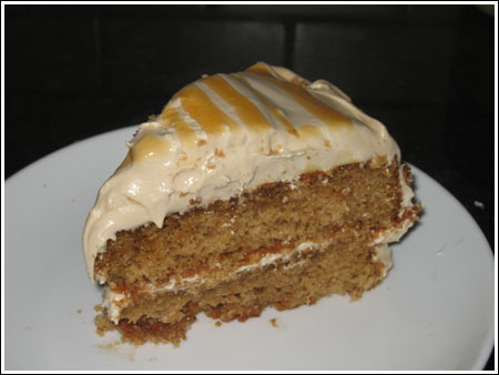 spice cake with sea foam icing on plate.jpg