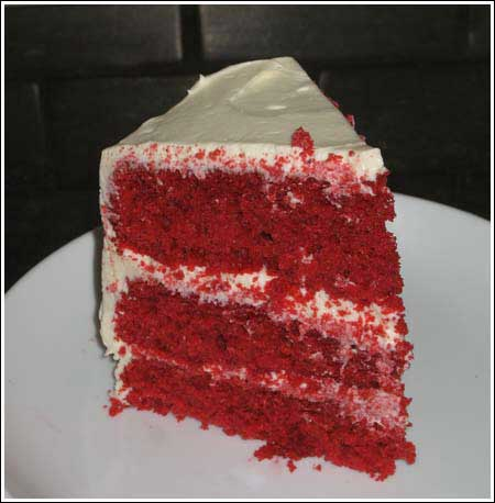 Red Velvet Cake made with white lily