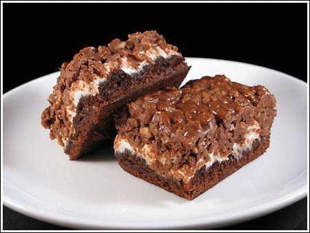 marshmallow krispie topped brownie