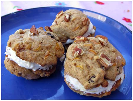 Carrot Cake Cookies with Pineapple Cream Cheese Filling