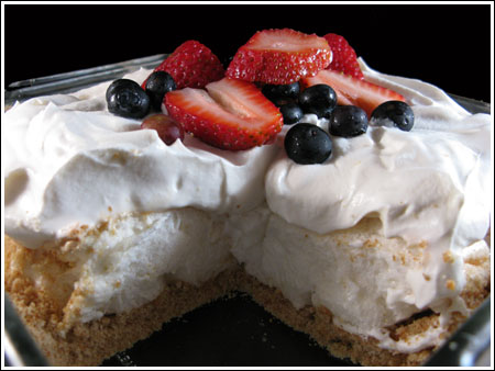 Four Layer Meringue Berry Dessert (Red, White & Blue)