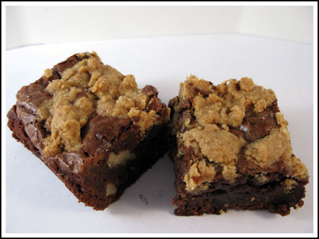 Chocolate-Banana Peanut Butter Streusel Brownies and Chocolate-Banana Peanut Butter Swirl Brownies