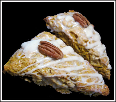 iced pumpkin scones