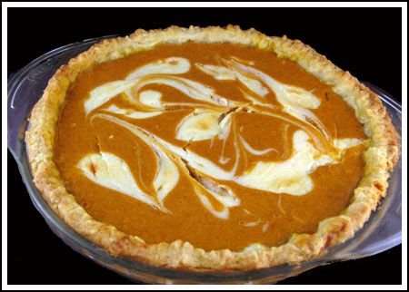 marbled cream cheese pumpkin pie