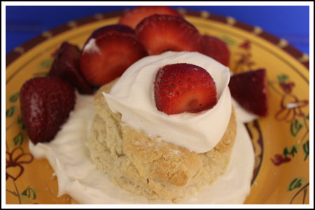 Strawberry Shortcake with Sour Cream Biscuits made with self rising flour.