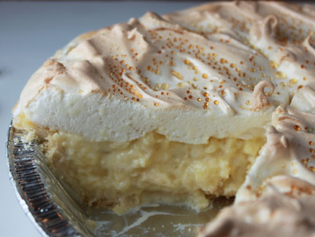 Pineapple Sour Cream Pie Close-Up