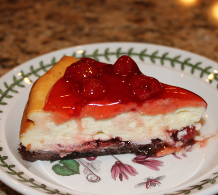 Cheesecake with a brownie crust