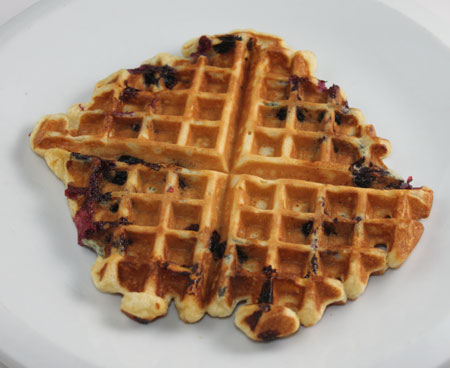 Sour Cream Waffles with Blueberries