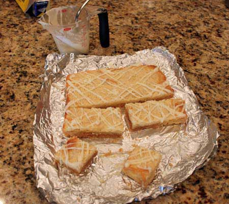 lemon bars on foil