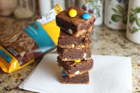 brownies with a macadamia cookie crust