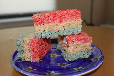 red white and blue rice krispies treats