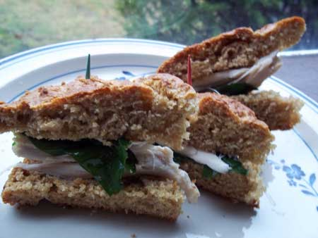 Sandwich made on rye quick bread