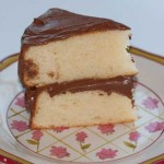 yellow cake with sour cream chocolate frosting