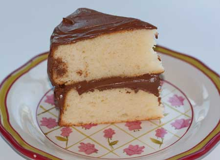 Yellow Cake with Chocolate Sour Cream Frosting