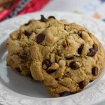 thick chocolate chip cookies with toffee
