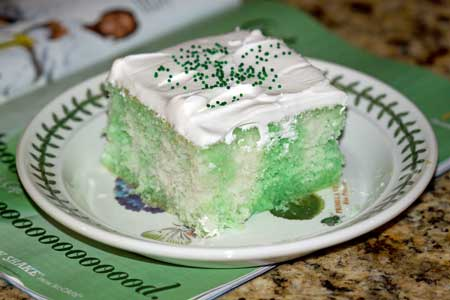 ... Jell-O poke cake with white cake mix and green gelatin. It was perfect