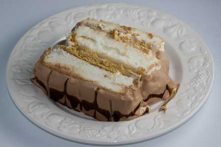 Mocha Mousse Angel Cake with Chocolate Whipped Cream