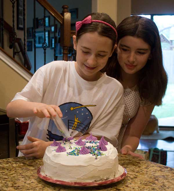 Girls Decorating Funfetti Cake