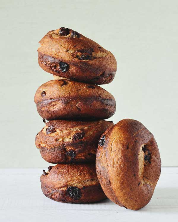 Cinnamon Raisin Rye Bagels from Whole Grain Vegan Baking