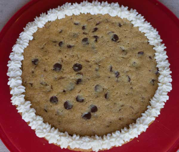 "Gluten Free Vegan Chocolate Chip Cookie Cake or ""Cookie Pizza"""