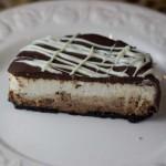 Chocolate Glazed Triple Layer Cheesecake Cut