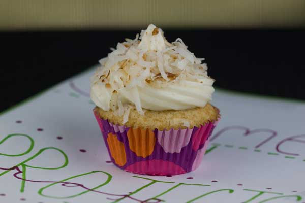 Frosted Coconut Cupcakes Made With Coconut Spread