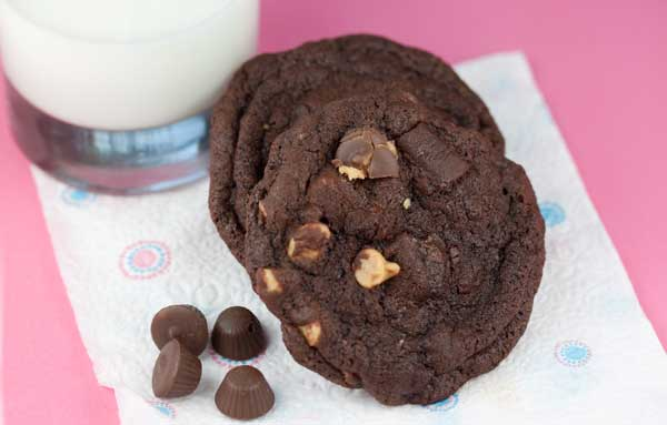 Double Chocolate Peanut Butter Cup Cookies — Small Batch