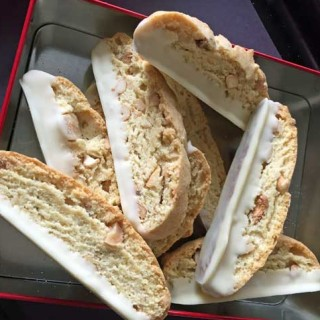 Mixed Nut Biscotti Dipped in White Chocolate