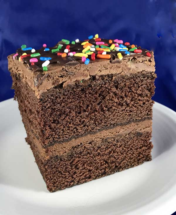 rectangular chocolate layer cake
