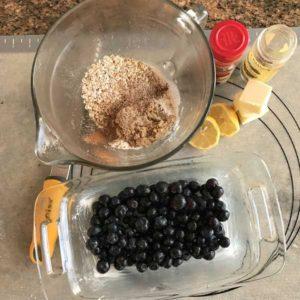 loaf pan blueberry crisp