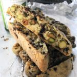 chocolate chunk roasted pistachio oil biscotti