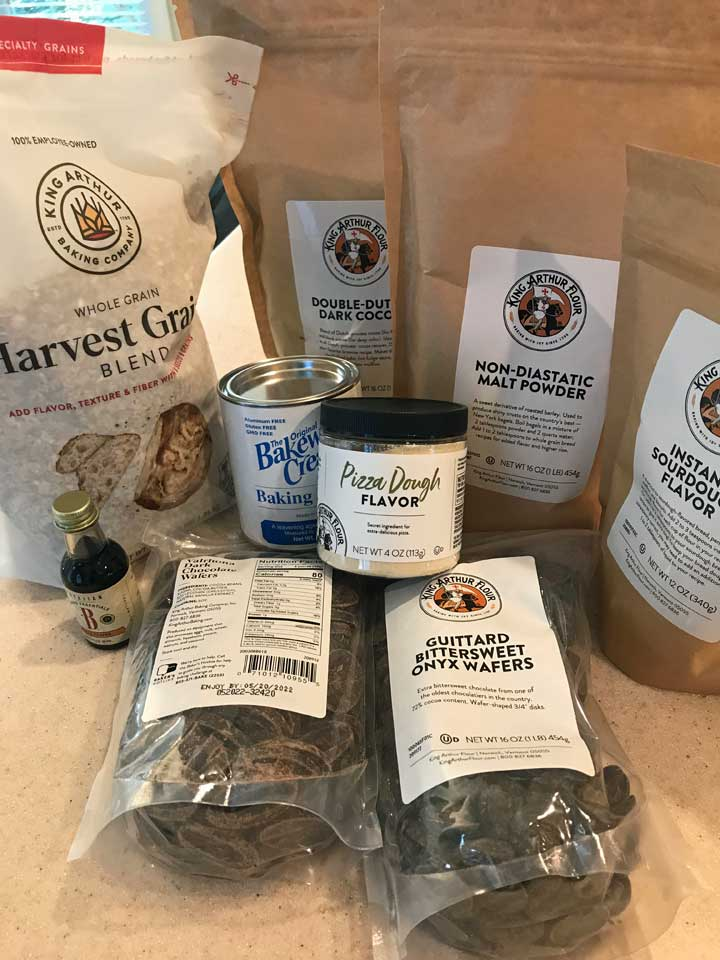 Harvest Grains and other goodies from the King Arthur store in Vermont.