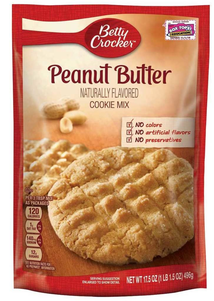 Cookie Mix Double Peanut Butter Cookies recipe featuring a bag of Betty Crocker peanut butter flavored cookie mix.
