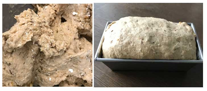Dough consistency for bread made with cottage cheese.