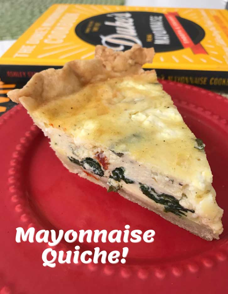 Mayonnaise Quiche with sun dried tomatoes, feta and spinach