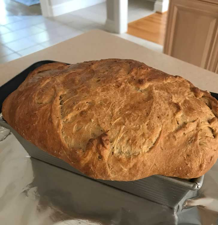 No-Knead yeast bread with wheat germ.