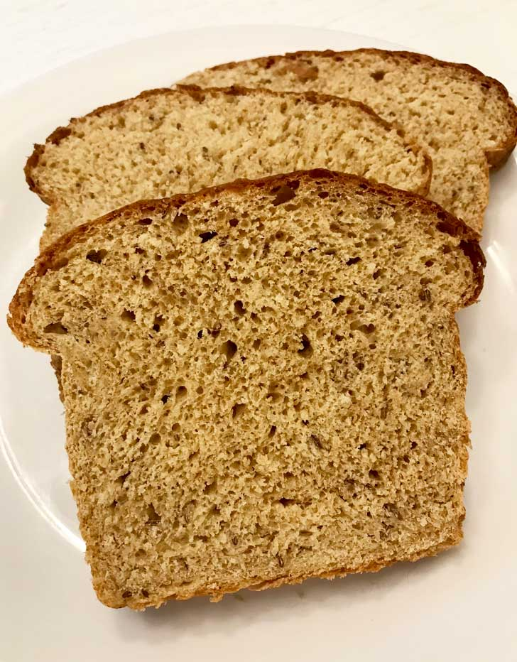 Sliced Caraway Cottage Cheese Bread with tasty wheat germ!