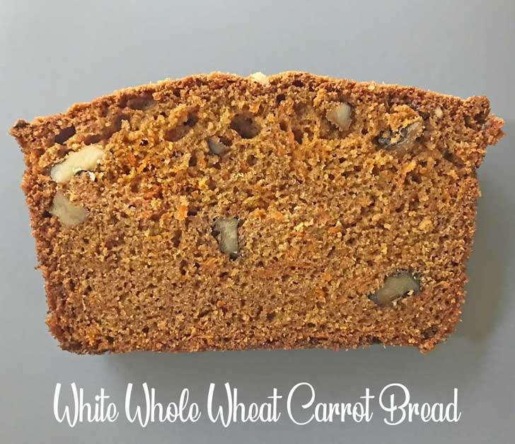 White Whole Wheat Flour Carrot Bread made with baby carrots.